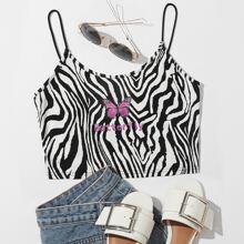 Cami Top mit Schmetterling und Buchstaben Muster und Zebra Streifen