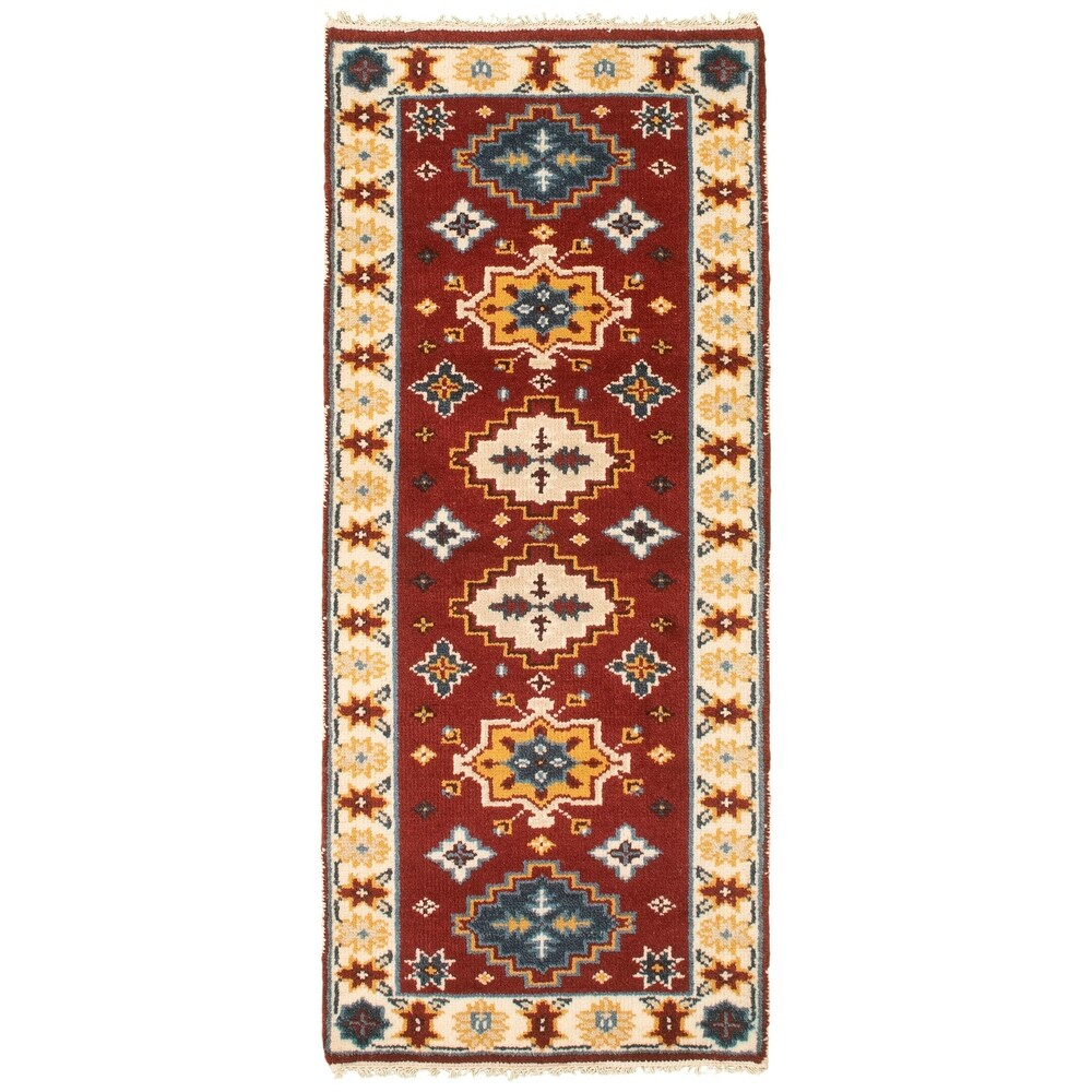 ECARPETGALLERY  Hand-knotted Kazak Royal I Red Wool Rug - 2'5 x 6'0 (2'5 x 6'0 - Dark Red)
