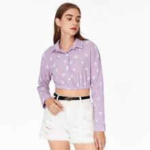 Button Front Butterfly & Gingham Print Top