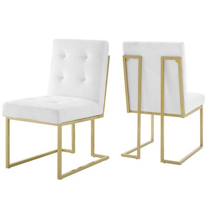 Privy Collection EEI-4151-GLD-WHI Gold Stainless Steel Upholstered Fabric Dining Accent Chair Set of 2 in Gold White