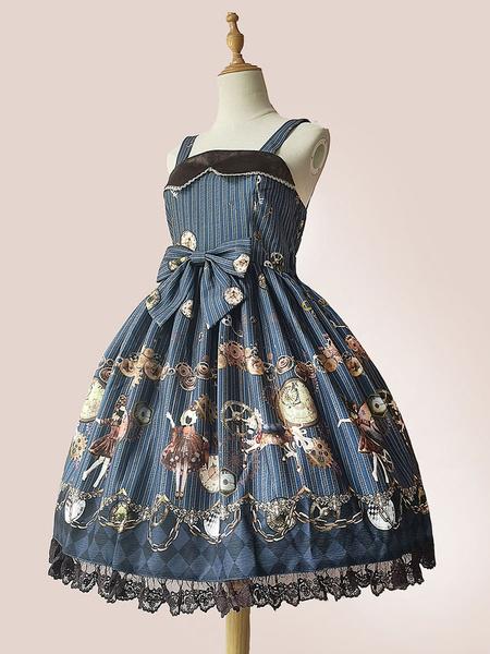 Milanoo Gothic Lolita JSK Dress Religious Infanta Floral Print Pleated Lolita Jumper Skirts