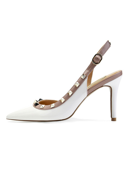 Milanoo Nude High Hees Mujeres Punta puntiaguda Remaches Slingback Pumps