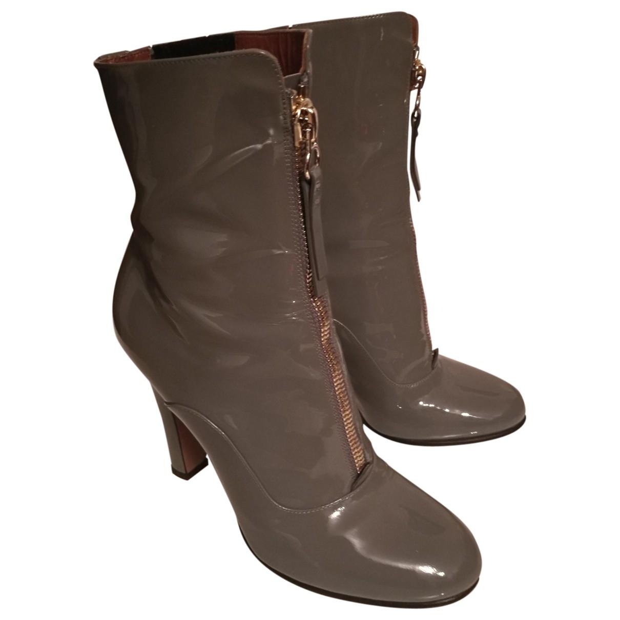 Valentino Garavani \N Grey Patent leather Ankle boots for Women 38 EU