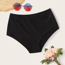 Solides Bikini-Hoschen mit hoher Taille