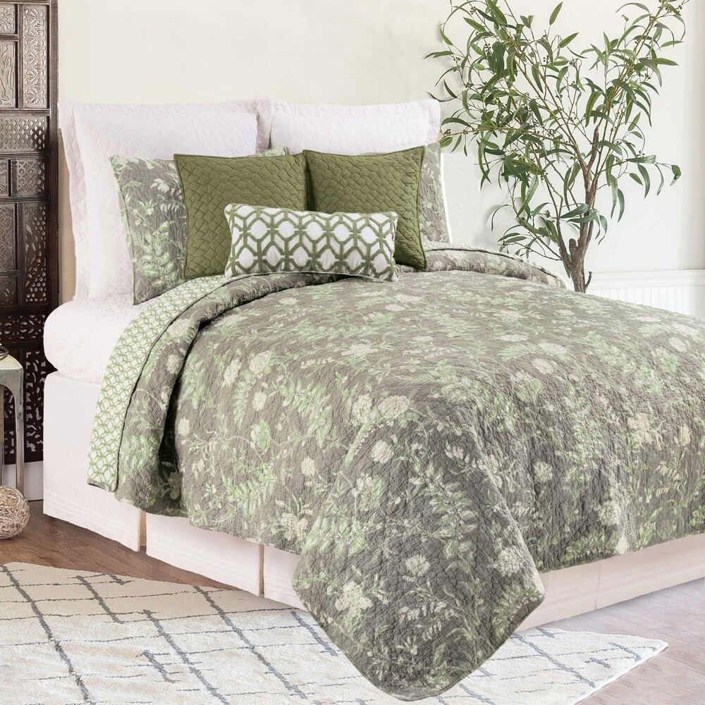 Solomons Seal Cotton 3 Piece Quilt Set - Twin 2 Piece (Queen/Full - Queen/Full)