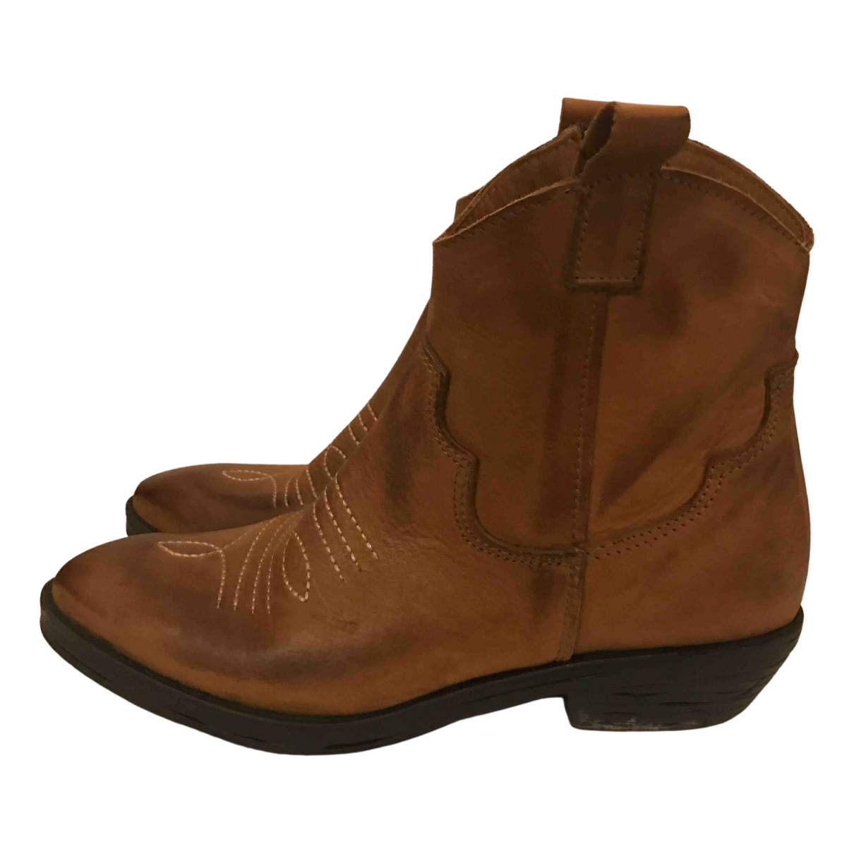Non Signé / Unsigned Hippie Chic Camel Leather Ankle boots for Women 35 EU