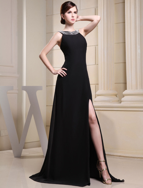 Milanoo Vestidos de fiesta largos Joya de vestido de noche negro abalorios Split sin mangas tribunal tren gasa vestido vestido de fiesta de boda
