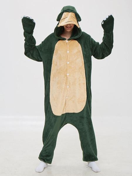 Milanoo Disfraz Halloween Snorlax Kigurumi Pijamas Onesie Anime Cartoon Green Flannel Jumpsuit Kigurumi Disfraces Carnaval Halloween