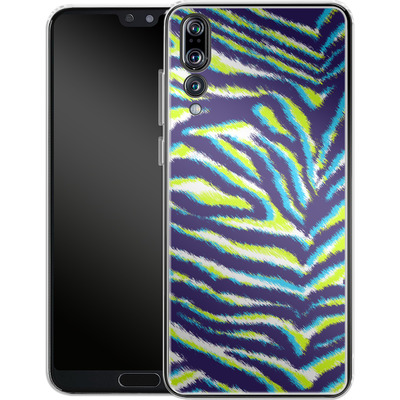 Huawei P20 Pro Silikon Handyhuelle - Neon Zebra von caseable Designs