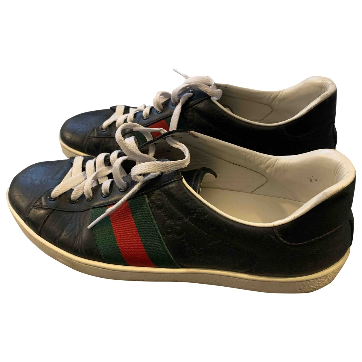 Gucci Ace Black Leather Trainers for Men 43 EU