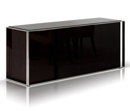 VGHB131M Modrest Noble Buffet wtih Tempered Glass Top  Stainless Steel Frame and One-Sided Shelf in Ebony Lacquer