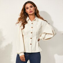 Solid Dual Pocket Button Up Blouse