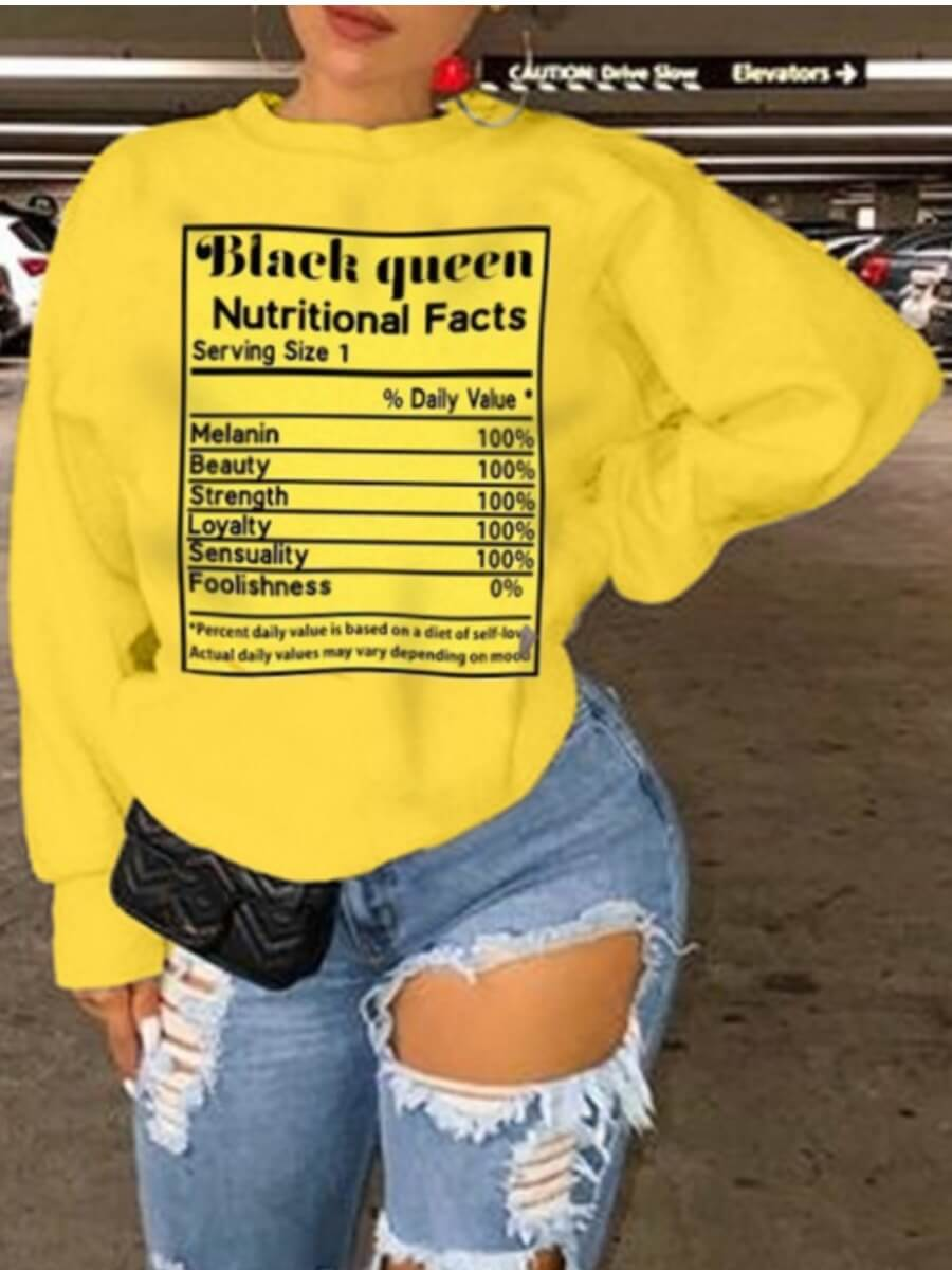 LW Lovely Casual O Neck Letter Print Yellow Plus Size Hoodie