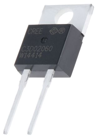 Wolfspeed 600V 2A, SiC Schottky Diode, 2-Pin TO-220 C3D02060A (2)