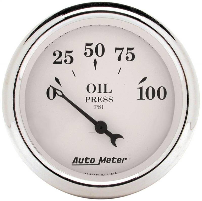 AutoMeter GAUGE; OIL PRESS; 2 1/16in.; 100PSI; ELEC; OLD TYME WHITE