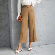 Pantalones de pierna ancha con cinturon