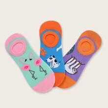 3 Paar Flamingos Muster Socken