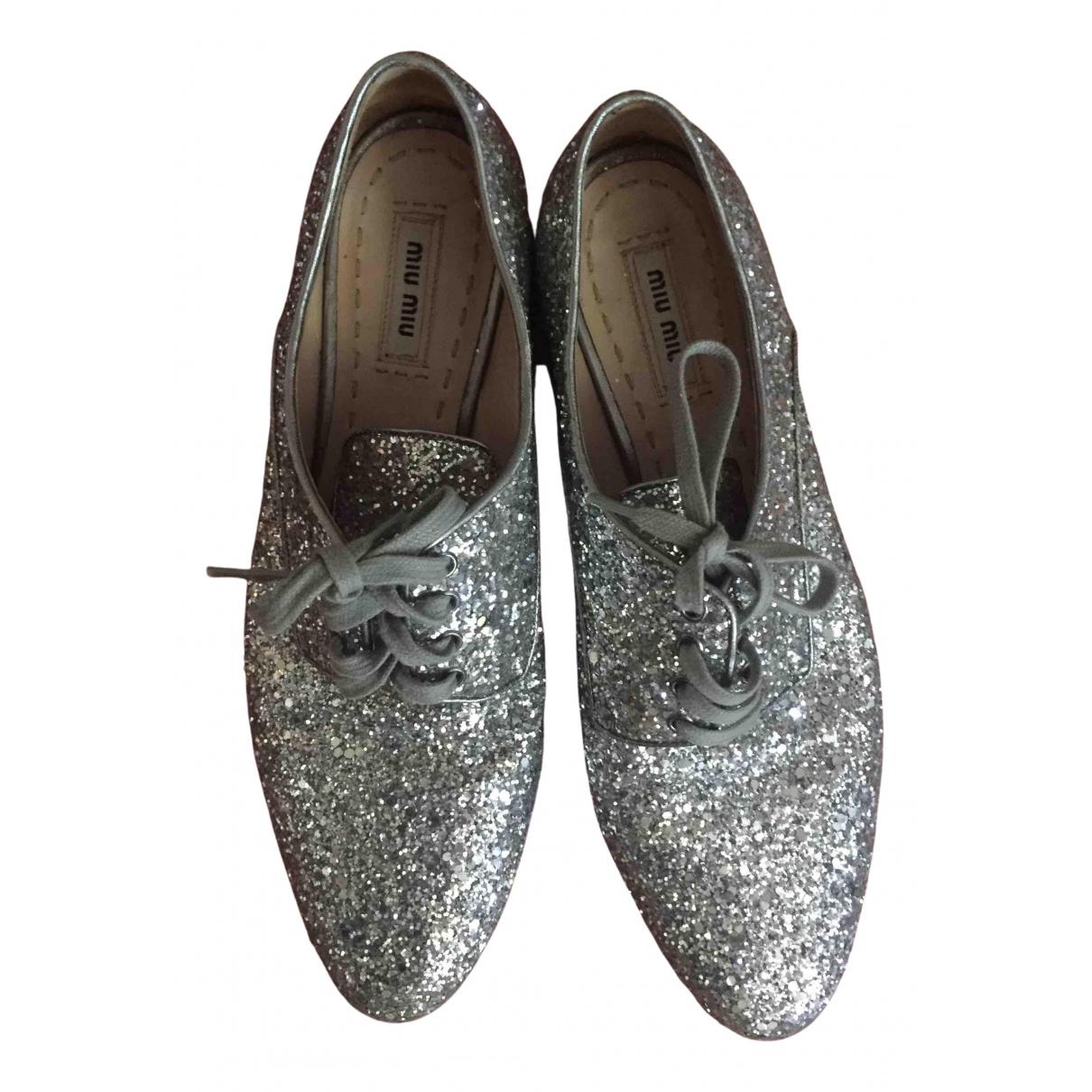 Miu Miu - Boots   pour femme en cuir - argente