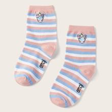 ROMWE X emoji Striped Crew Socks