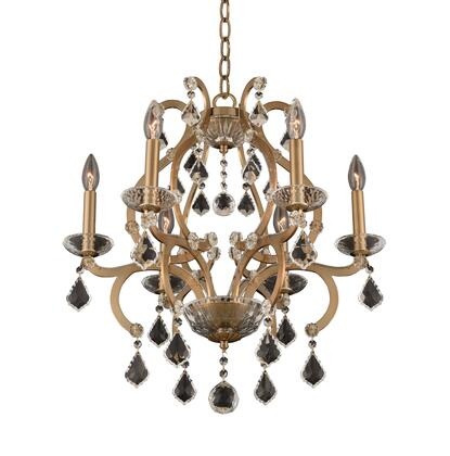 Duchess 029650-038-FR001 6-Light Chandelier in Brushed Champagne Gold Finish with Firenze Clear