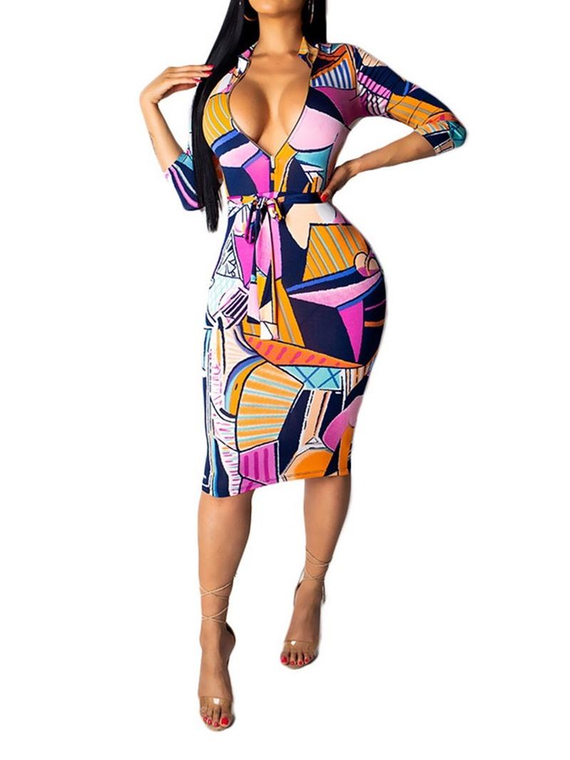 Ericdress Color Block Nine Points Sleeve Belt Bodycon Mid Waist Dress