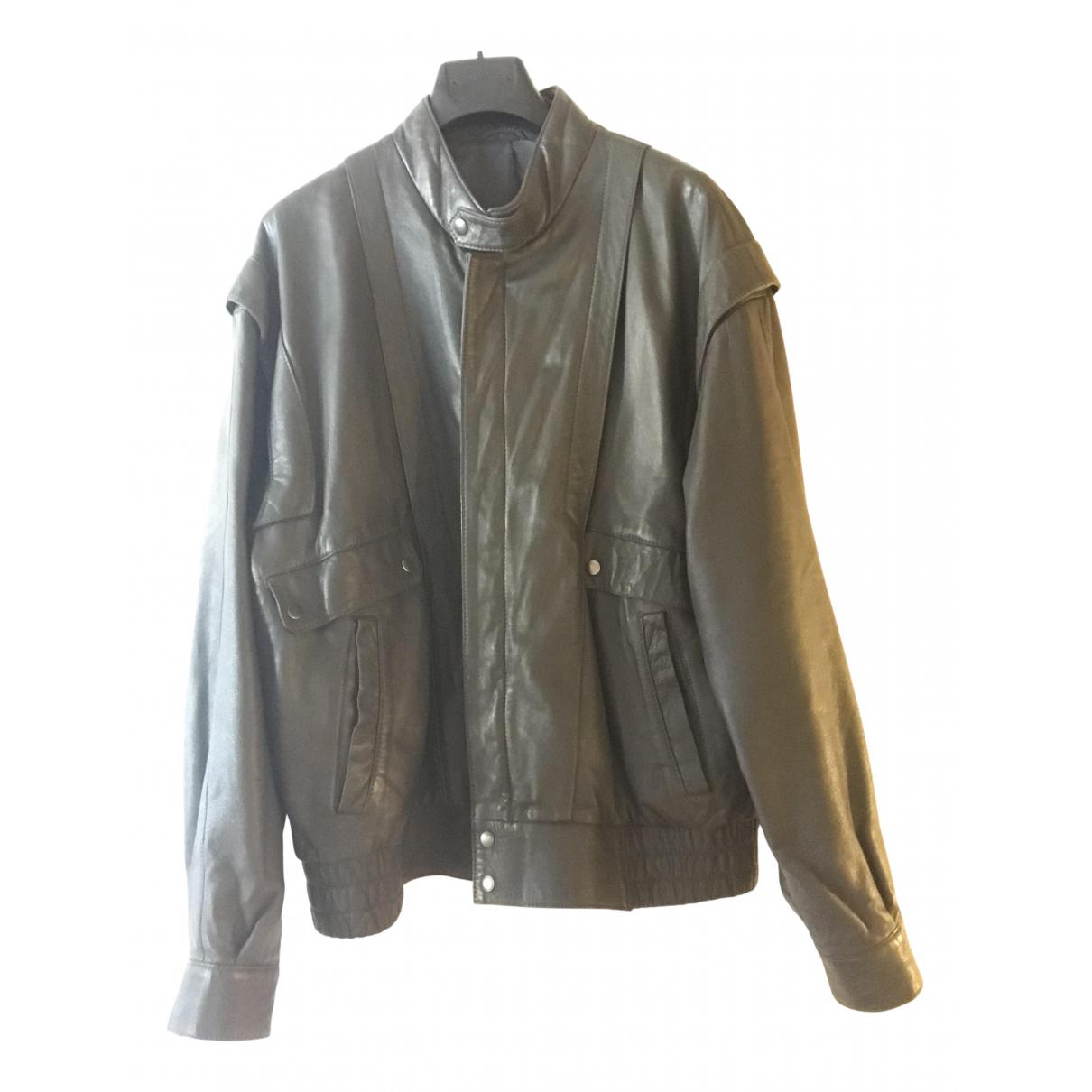 Non Signe / Unsigned Oversize Jacke in  Grau Leder