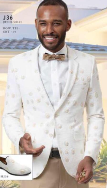 Mens Single Breasted Notch Lapel White Suit