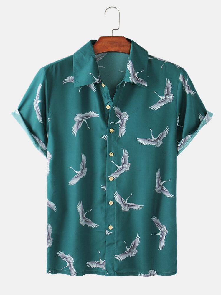 Mens Vintage Crane Print Casual Holiday Short Light Shirt