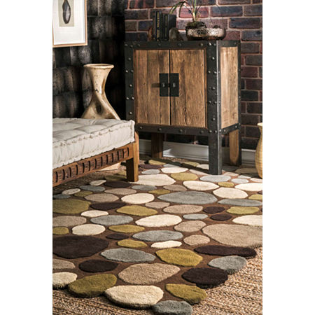 nuLoom Hand Tufted Pebbles Rug, One Size , Brown