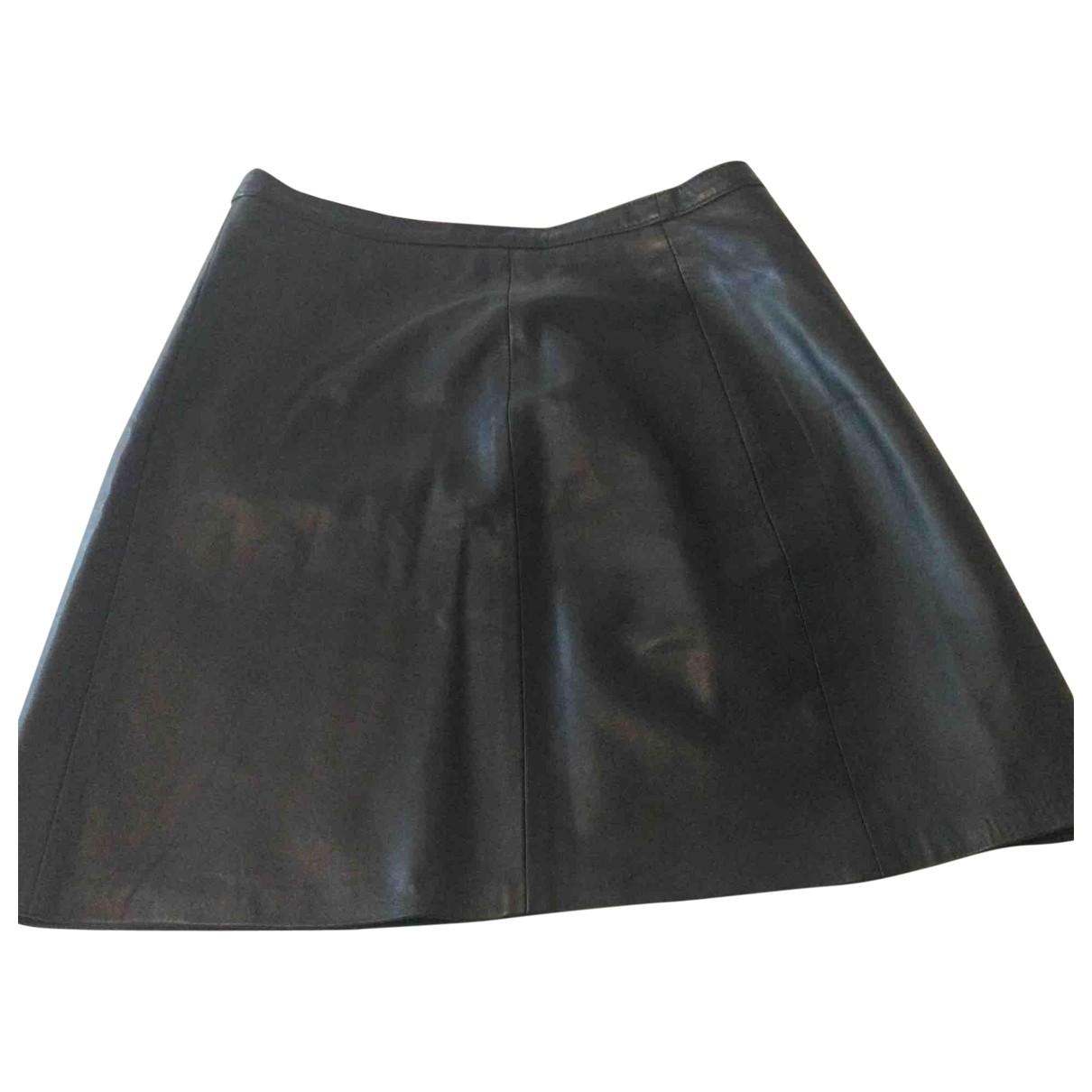 - Jupe   pour femme en cuir - noir