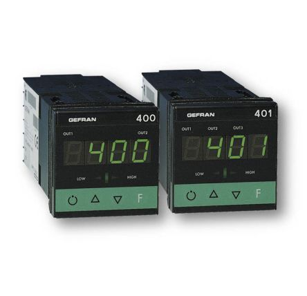 Gefran 400 PID Temperature Controller, 48 x 48 (1/16 DIN)mm, 3 Output Relay, 11  27 V ac/dc Supply Voltage