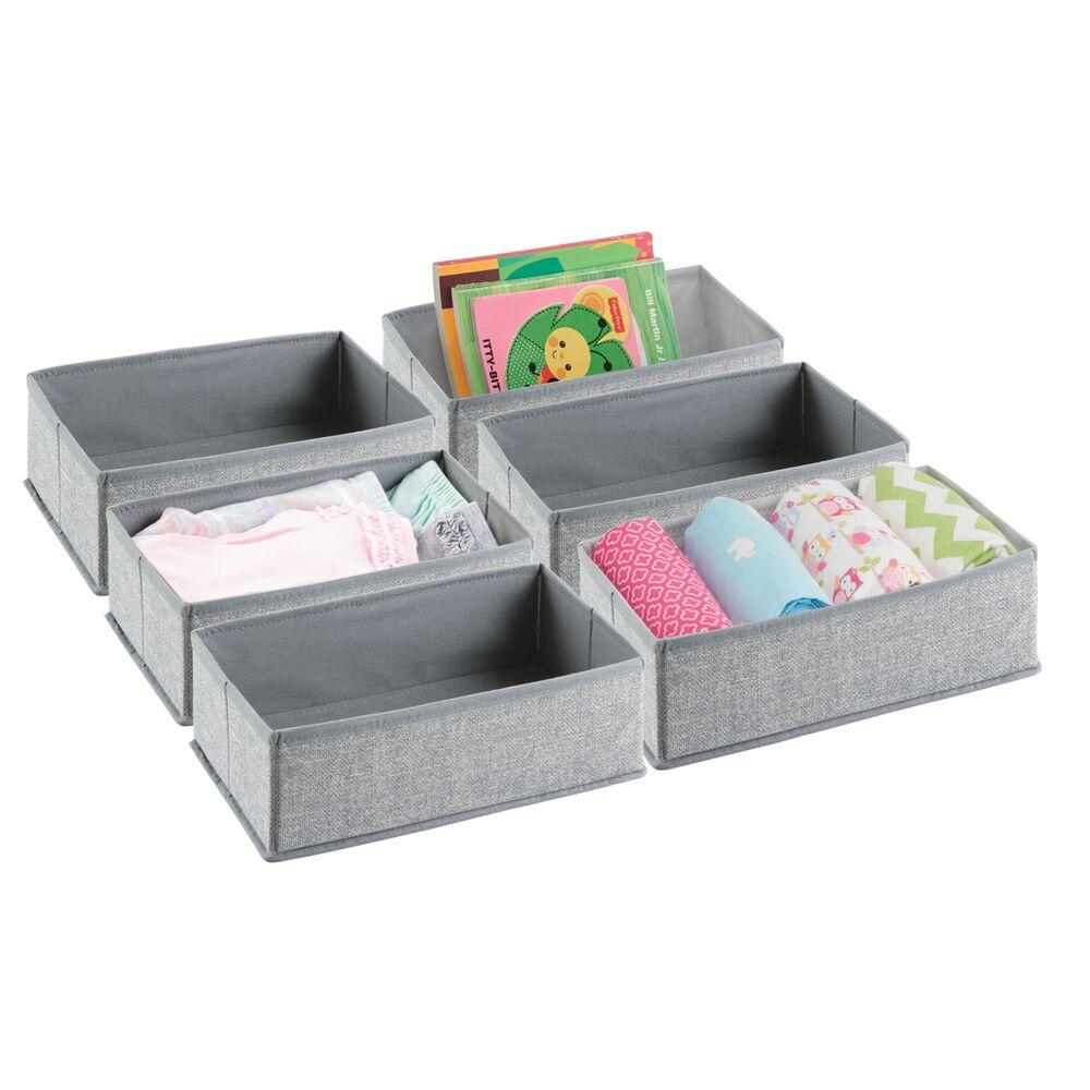 Kids Fabric Closet / Dresser Drawer Storage Organizer in Gray, 12 x 7.25 x 4.1, by mDesign