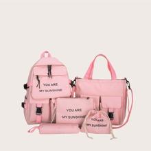 5 piezas set mochila de niñas con estampado de slogan