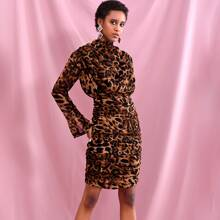 Ruched Detail Blouson Leopard Satin Dress