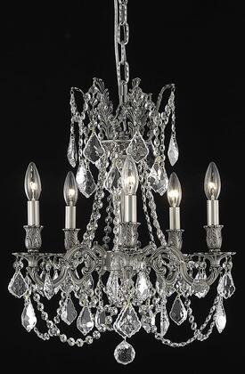 9205D18PW/EC 9205 Rosalia Collection Hanging Fixture D18in H19in Lt: 5 Pewter Finish (Elegant Cut