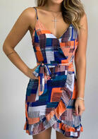 Color Block Ruffled Wrap Open Back Spaghetti Strap Mini Dress without Necklace