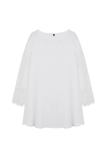 Yoins White Chiffon Swing Dress With Lace Insert