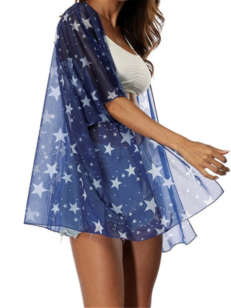 Star Print Bohemian Sunscreen Elbow Sleeve Kimonos