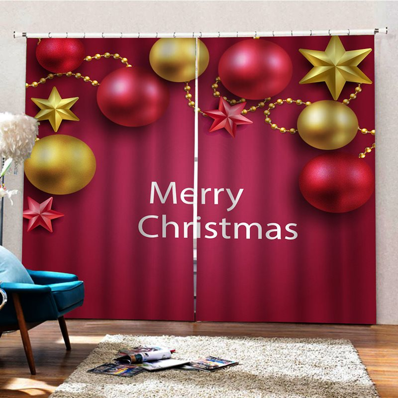Christmas Party Decor 3D Print Blackout Curtains for Living Room Bedroom