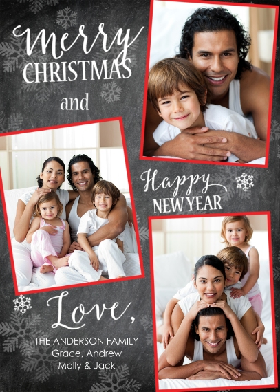 Christmas Photo Cards Flat Glossy Photo Paper Cards with Envelopes, 5x7, Card & Stationery -Christmas Snowflakes Red Frames
