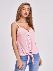 Double V-Neck Buttoned Front Knot Hem Waffle Knit Cami Top