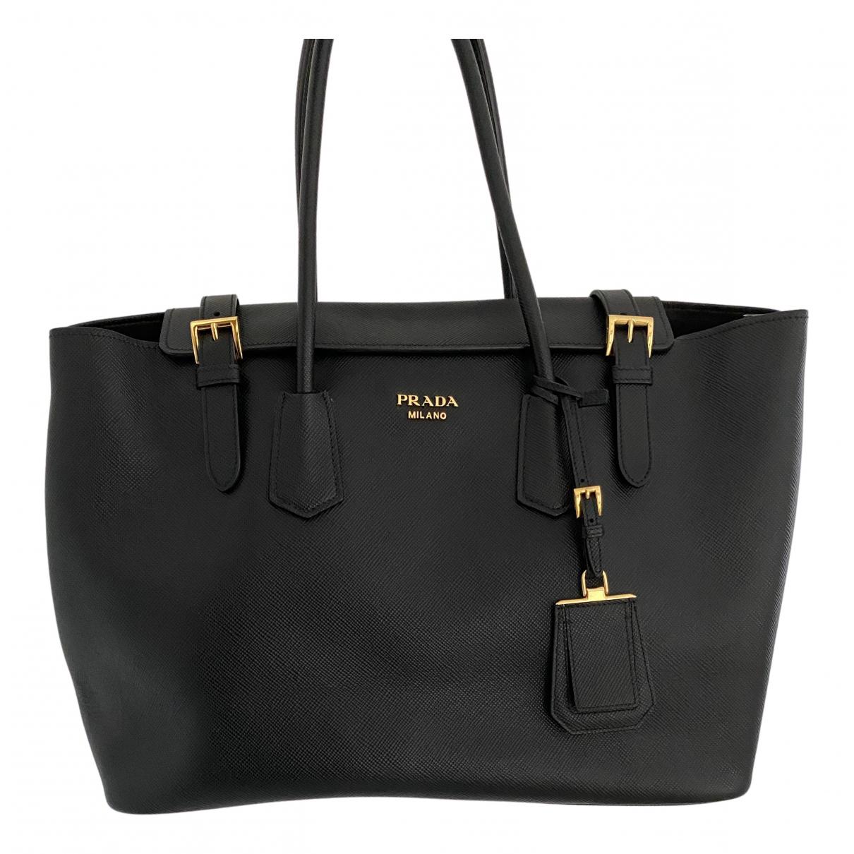 Prada saffiano  Black Leather handbag for Women N