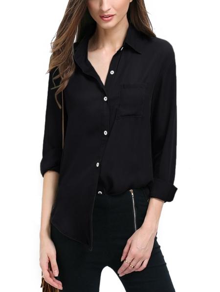 Yoins Kenoce Button Design Classic Collar Long Sleeves Blouse