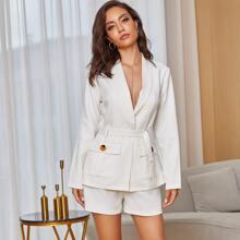 Yilibasha Flap Pocket Belted Blazer & Shorts Set