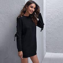 Lace Up Raglan Sleeve Sweater Dress