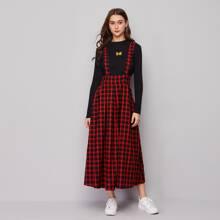 Wide Waistband Boxy Pleated Pinafore Dress