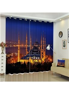 3D City Night Scenery Luxury Buildings Printed Living Room Custom Decorative Curtain