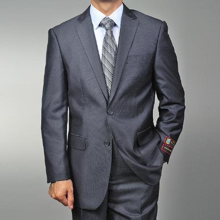2 Button Grey Teakweave Suit Mens Cheap
