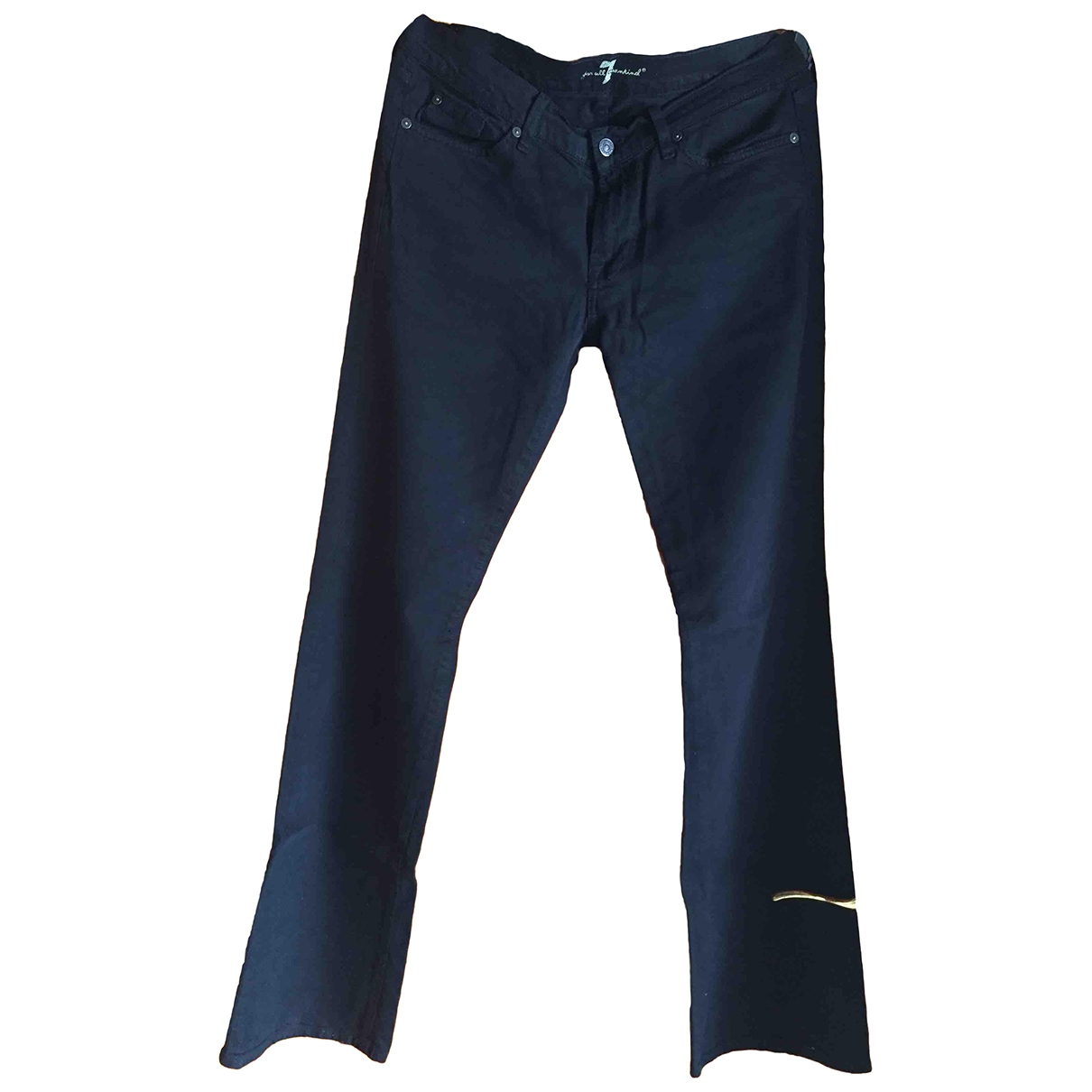 7 For All Mankind \N Black Cotton - elasthane Jeans for Women 31 US