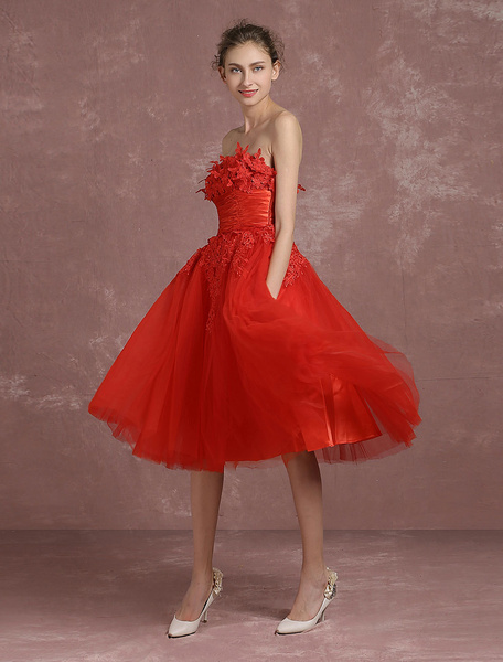 Milanoo Red Prom Dresses 2020 Short Strapless Backless Cocktail Dress Tulle Flower Applique A Line Tea Length Party Dress